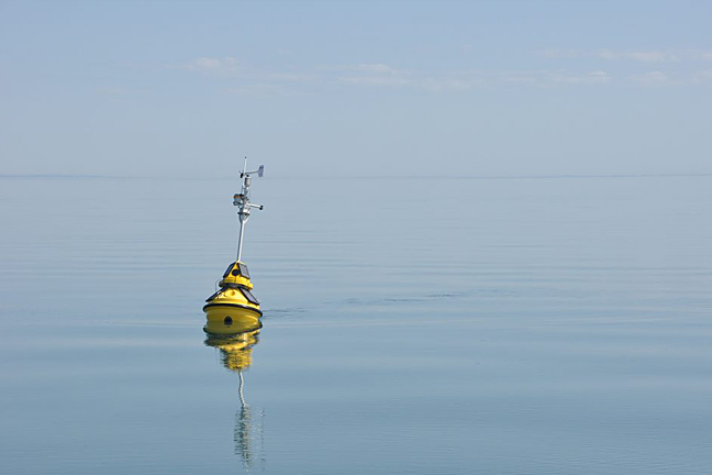 A buoy floating in Lake Superior