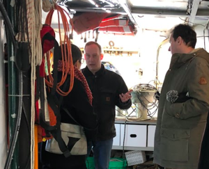 Doug Ricketts gives a tour of UMD's Blue Heron research vessel.