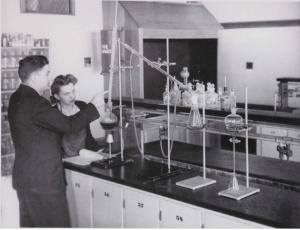 chem lab in the 1940's