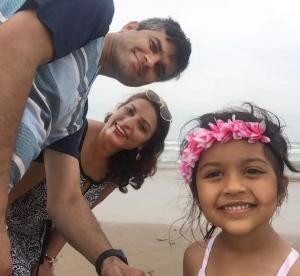 Prabhat Bhatterai family on the beach