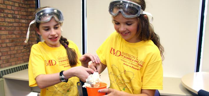Electrical Engineering summer camp participants making ice cream