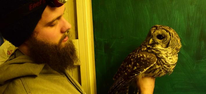 Owl with grad student