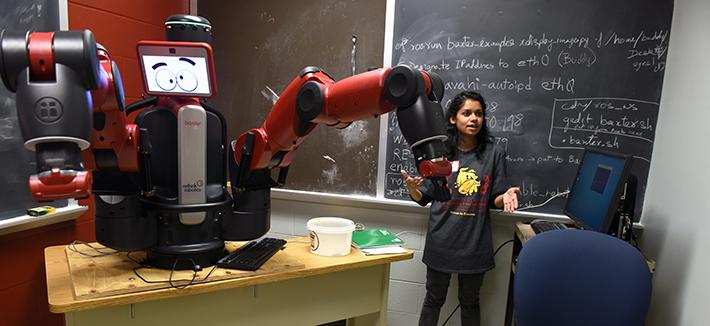 Student with robot