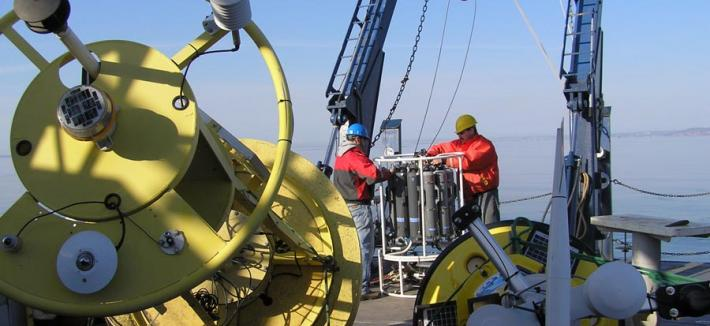 Preparing to deploy meteorological buoys on Lake Superior