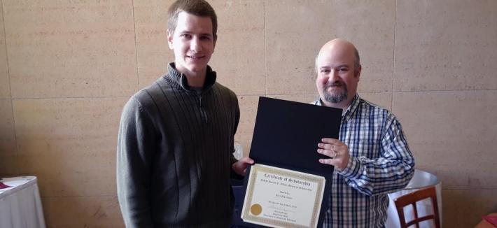 Student Receiving Scholarship Award