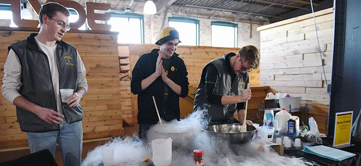 Students making ice cream