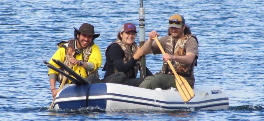 Paddling to a sediment core site