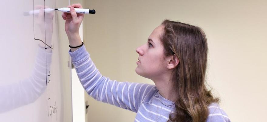 Student Drawing on a Whiteboard