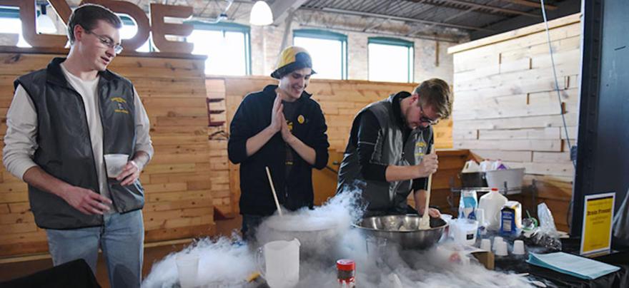 Students making ice cream