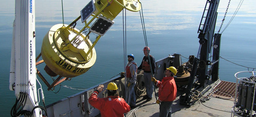 Buoy deployment off of the RV Blue Heron - our meteorological buoys collected data about western Lake Superior