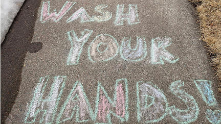 Chalk Drawing of Wash Your Hands message