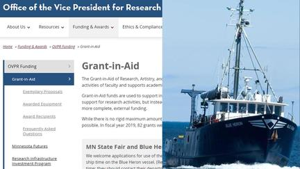 The 2019 UMN Grant in Aid includes funds for RV Blue Heron ship time.