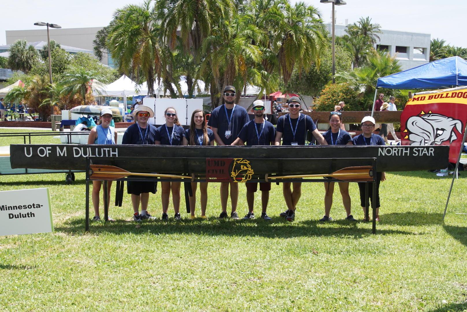 Concrete Canoe Team in Florida with concrete canoe display