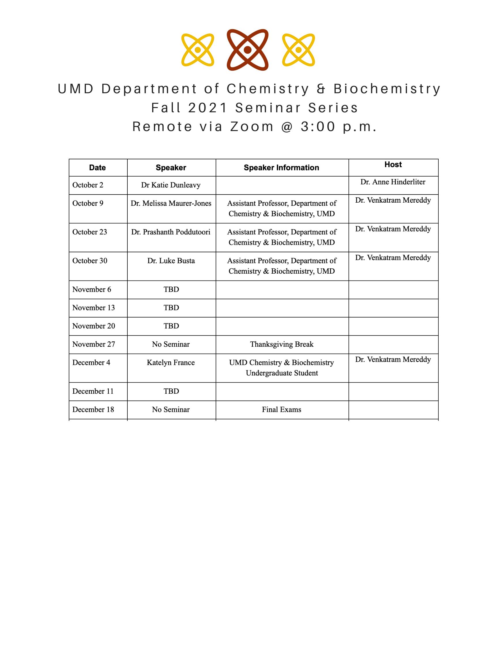 Seminar Schedule
