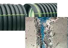 plastic drain pipe and concrete with reinforcing fibers