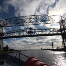 Blue Heron Approaching Duluth Lift Bridge